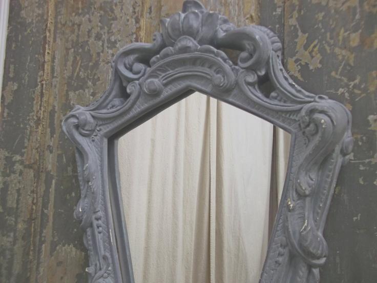 Shabby Carved Grey Shield Shaped Mirror - Chic. $75.00, via Etsy.