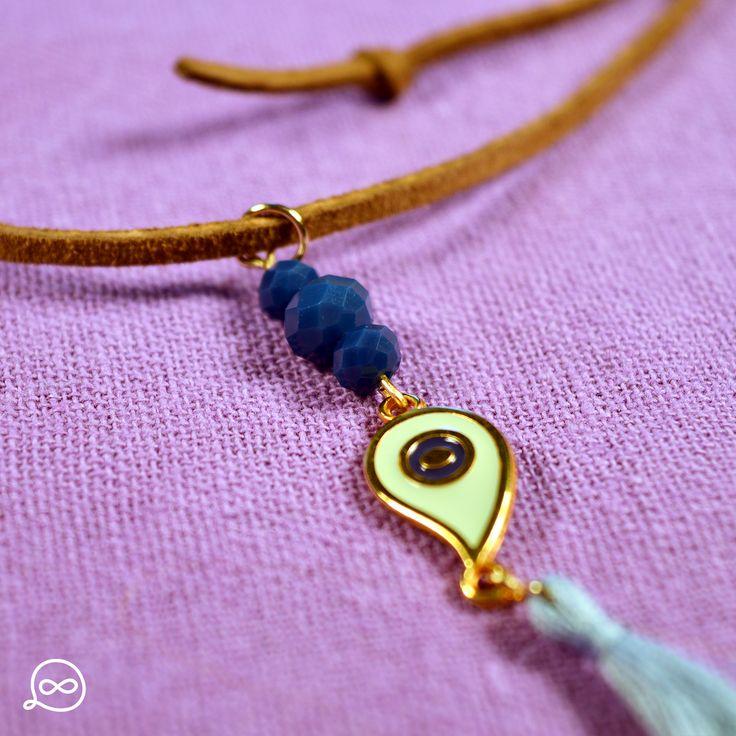 Gold Plated Drop-Shaped Eye & Blue Beads Necklace. #tufatufa