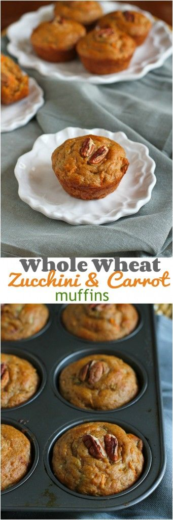 Whole Wheat Zucchini Carrot Muffins...Perfect for breakfast or snacking!  137 calories and 4 Weight Watchers PP   cookincanuck.com #recipe #healthy
