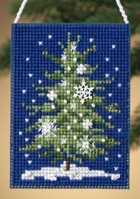 Mill Hill Snowflake Tree - Beaded Cross Stitch Kit. Kit includes: Beads, treasures, perforated paper, floss, needles, chart and instructions. Finished size: 2.5