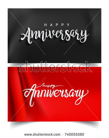 Happy Anniversary lettering text banner. Vector illustration