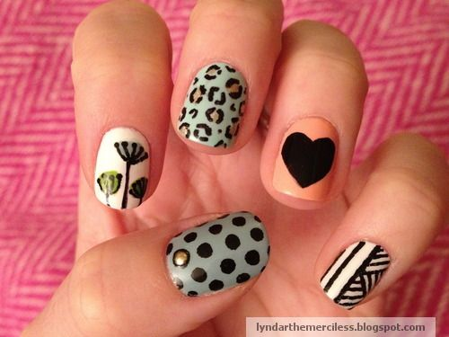 Leopard, heart and flower nails {China Glaze For Audrey, Barry M Peach Melba, Sally Hansen nail art pen black}