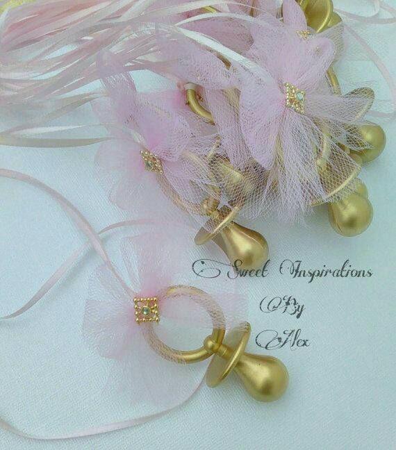 Souvenirs Con Chupetes Dorados Para Baby Shower