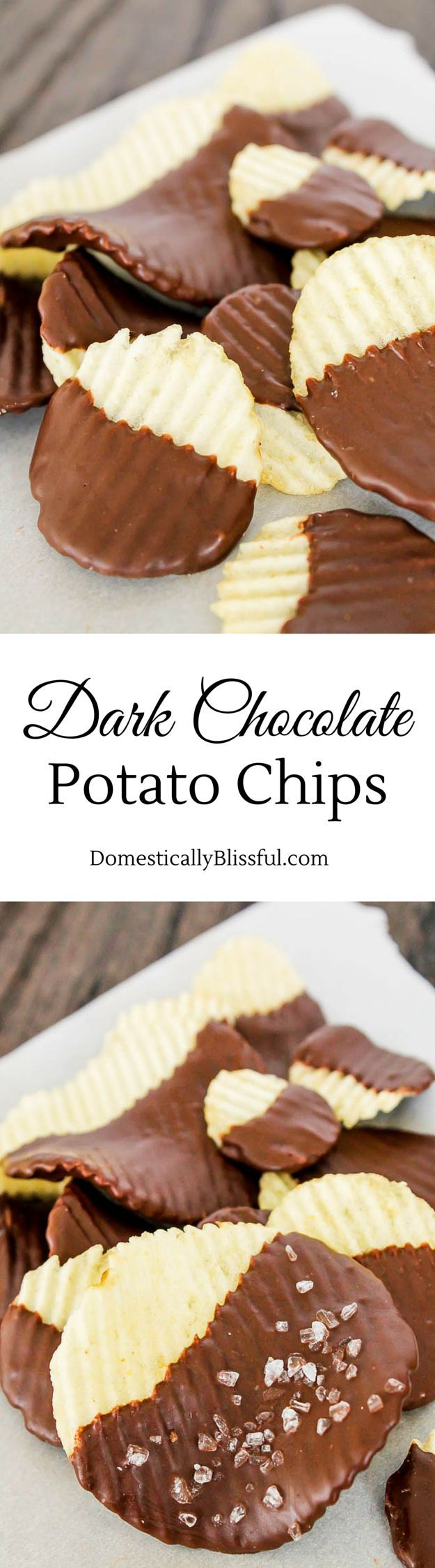 Dark Chocolate Potato Chips are the perfect guilty pleasure snack for those who want something sweet, salty, & covered in dark chocolate!
