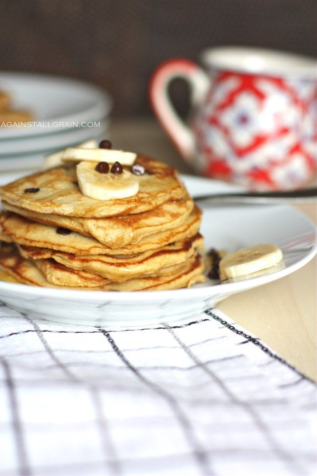 I'll Make You Banana Pancakes, Pretend Like It's The Weekend Now…      AUTHOR: Danielle Walker - AgainstAllGrain.com    SERVES: 8-10 small pancakes  Ingredients:        3 large eggs, at room temperature      ¼ cup non dairy milk (I use coconut or almond)      1 teaspoon vanilla      1 teaspoon honey      2 tablespoons coconut flour      ⅓ cup blanched almond flour      ½ teaspoon baking soda      ¼ teaspoon salt      1 overly ripe banana (brown spots are the best!)      ¼ cup chocolate chips…