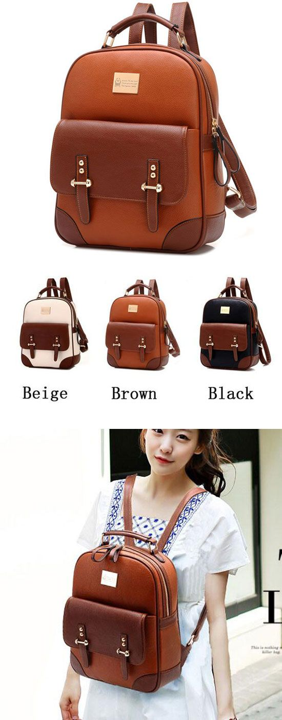 Which color do you like? British Preppy Retro Brown Leather School Backpacks #school #brown #leather #retro #college #bag