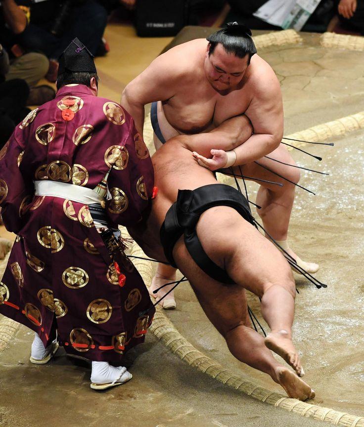 大関稀勢の里、物言い付くも好調の松鳳山を下し4連勝 デイリースポーツ #相撲