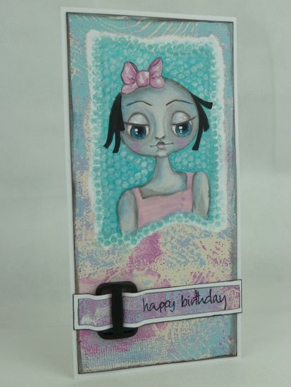Gelli printed card with hand painted face.. http://art-and-sole.blogspot.co.uk/2014/05/gelli-printed-card-with-weekly-face.html
