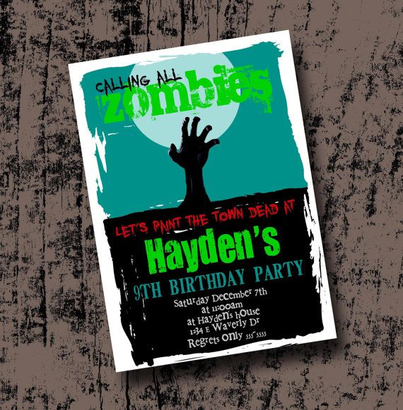 Hey, I found this really awesome Etsy listing at https://www.etsy.com/listing/167588121/zombie-birthday-party-invitation