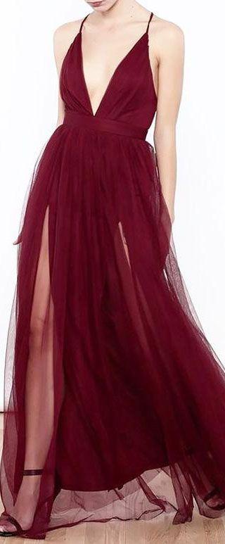 461ac7cc071 robe de soirée bourgogne rouge longue fendue sexy col décolleté en V  plongeant