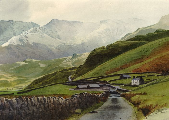 The old Nant Ffrancon Road, an original watercolour painting by Rob Piercy