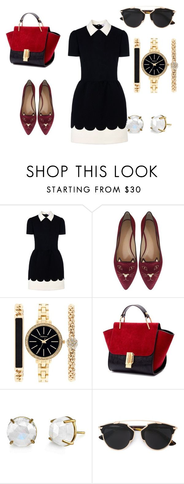 My preppy style by Mimi by mokatsanemk on Polyvore featuring RED Valentino, Charlotte Olympia, Style & Co., Christian Dior, women's clothing, women's fashion, women, female, woman and misses
