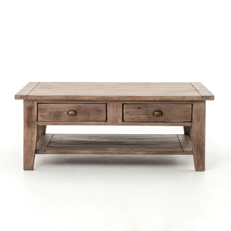 coastal solid wood rustic coffee table with drawers