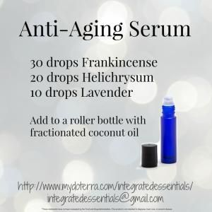 Anti aging serum, doTERRA, essential oils, roller bottle recipes, frankincense, helichrysum, lavender, integrated essentials, natural solutions, natural healing, by Jinx62