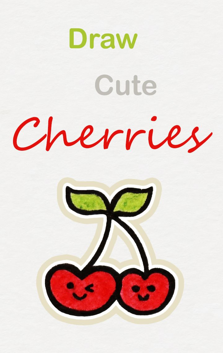 Cherry Drawing Easy : cherry, drawing, Learn, Cherries,, Kawaii, Tutorial, #kawaii, #drawing, #tutorial, #cherry, Drawings,, Doodle