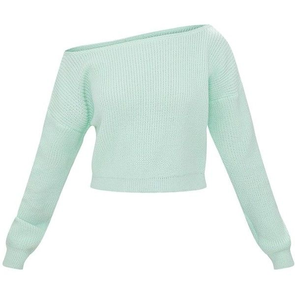 Coral Off The Shoulder Crop Jumper ($22) ❤ liked on Polyvore featuring tops, sweaters, shirts, cropped sweater, off shoulder crop sweater, green sweater, off-shoulder tops and green top