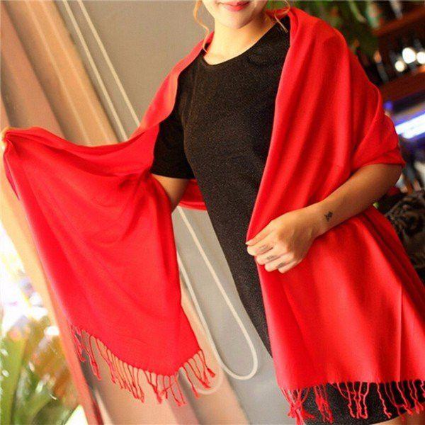 Women Cashmere Pashmina Solid Colors Soft Warm Wrap Shawl Tassel Scarf