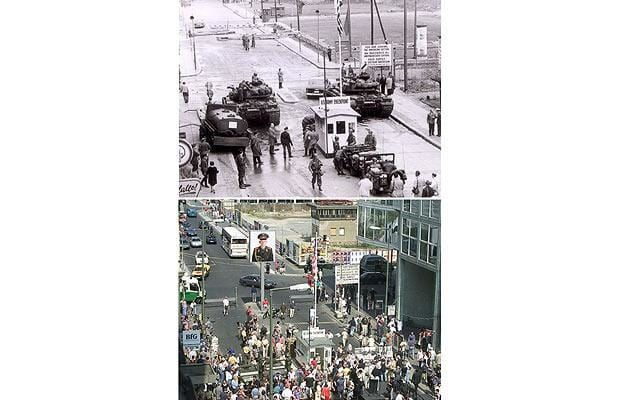 Pictures of Berlin today, and when the wall divided the city.