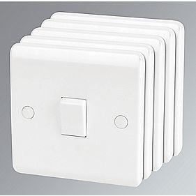 LAP 1-Gang 1-Way 10AX Light Switch White Pack of 5