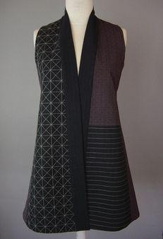 Long Kimono Jacket with Abstract Blocks