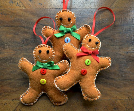Handmade Gingerbread Man Christmas Decoration by CottonTaleStudios