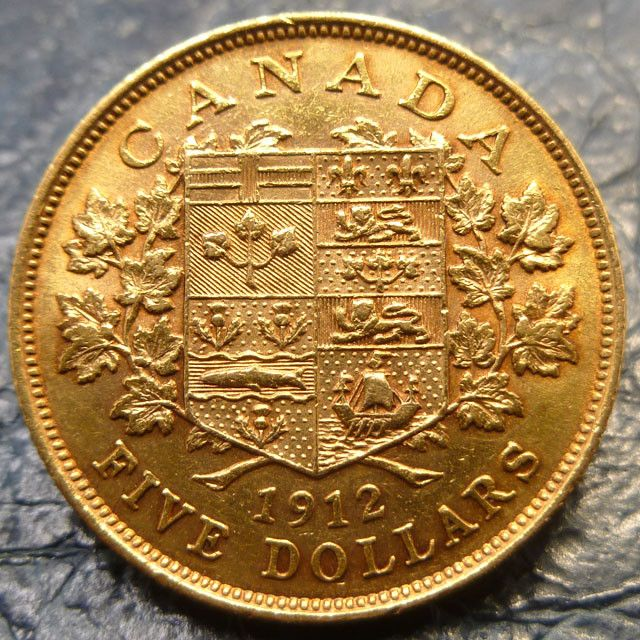 Canadian gold coin 5 dollars 1912   CO1458 canadian gold coin , gold coin