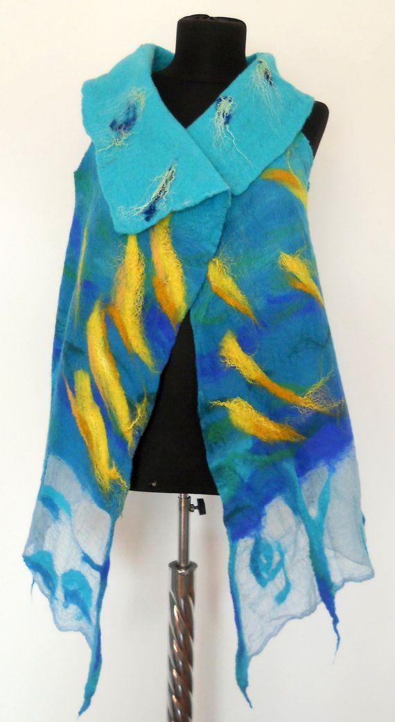 Felted vest  Wool vest  turquoise vest  art vest by FeltNunoFelted