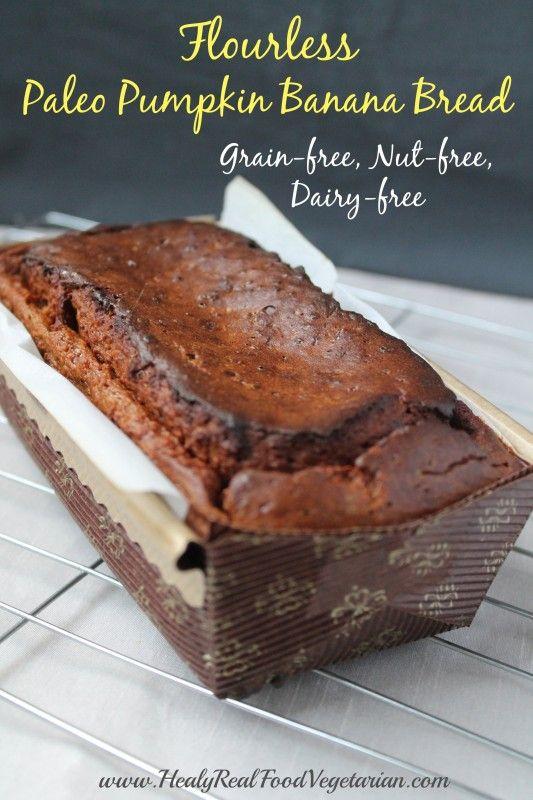 Flourless Paleo Pumpkin Bread Recipe (Grain-free, Nut-free) @ Healy Real Food Vegetarian. Click here: http://www.healyrealfoodvegetarian.com/flourless-paleo-pumpkin-bread-recipe-grain-free-nut-free/ #paleo #paleopumpkinbread #grainfree #dairyfree