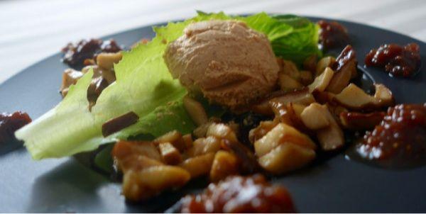 Anklever med svamp och fikonmarmelad. Duck liver with fig marmelade.