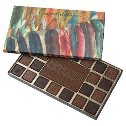 autumn leaf colors original modern art congrats 45 piece box of chocolates - modern gifts cyo gift ideas personalize