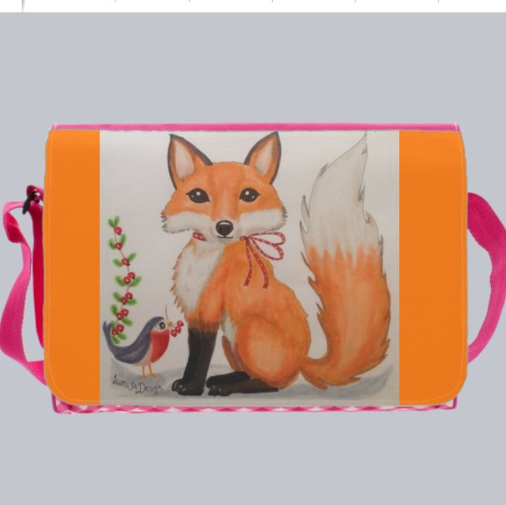 Girls diaper bag school bag bookbags. With fox. Also available in grey with rainy day print, butterfly girl or Little mermaid. For cute totes, phone cases or card and prints, visit LumisaDesign