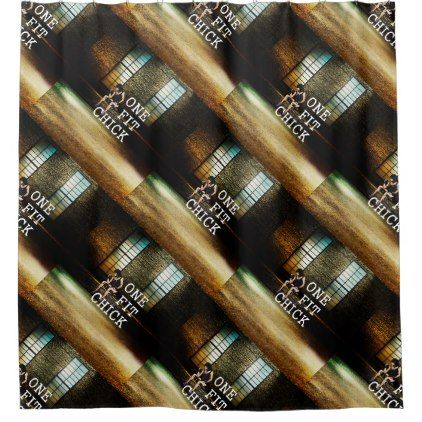 TOP One Fit Chick Shower Curtain - shower curtains home decor custom idea personalize bathroom