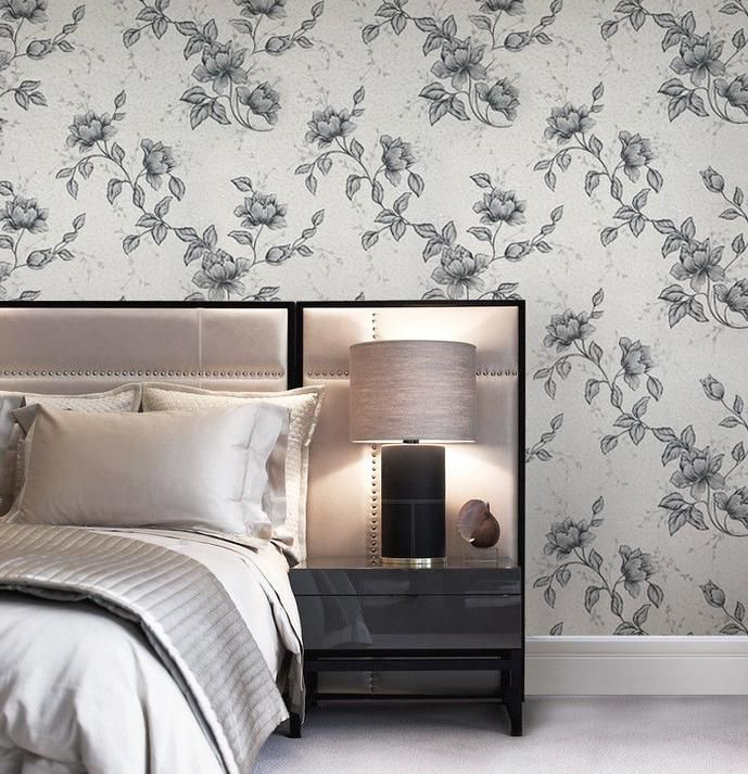 B546 10 White Black Floral Textured Wallpaper In 2020 Textured Wallpaper Modern Wallpaper Wall