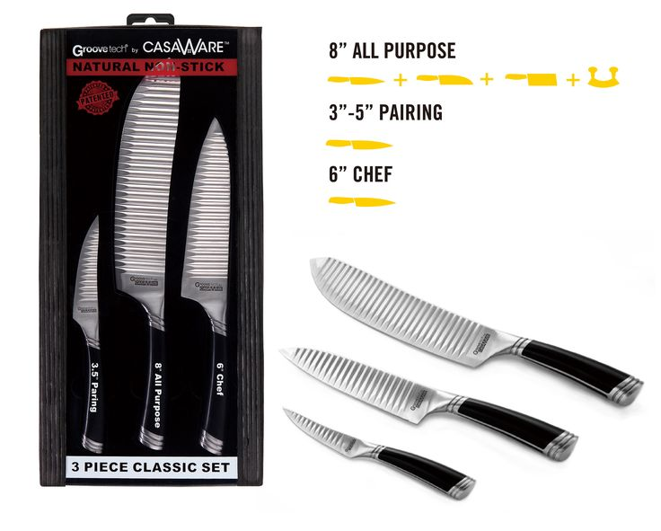 casaWare 3-piece Classic Cutlery Set - 6-inch Chef, 3.5-inch Paring and 8-inch All Purpose