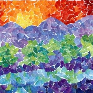 landscape mosaic - paper painted with water color