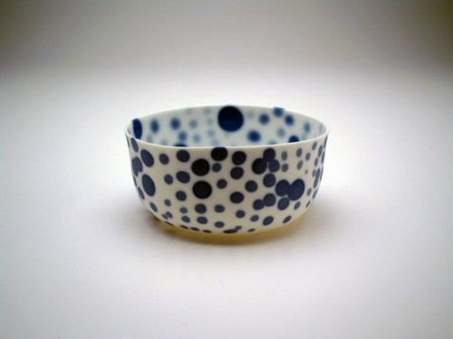 bowl by Belgian ceramic artist Pieter Stockmans. Slipcast porcelain, 3 x 3 x 1 in. via the Rosenfield Collection