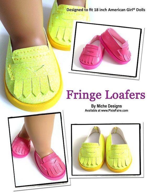 f4419b2eccec0 Pixie Faire Miche Designs Fringe Loafers Doll Clothes Pattern for 18 ...