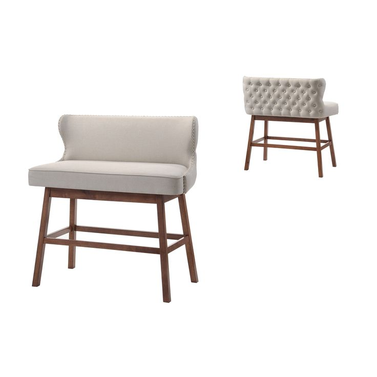 Modern Beige Fabric Button Tufted Upholstered Bar Bench Banquette For The Home Pinterest