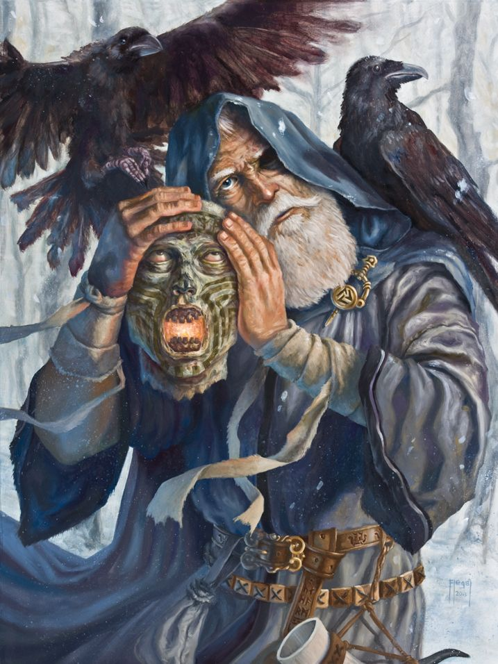 In Norse mythology, Odin carries around the severed head of Mímir, which foretells the future. In order to drink from the Well of Wisdom - to gain the knowledge of the past, present and future, Odin had to sacrifice one of his eyes. By sacrificing one eye (external sight), he won wisdom (internal sight; insight), and become a consulted oracle. Today Odin's eye sits at the bottom of the Well of Wisdom as a sign that the father of the gods paid the price for wisdom.