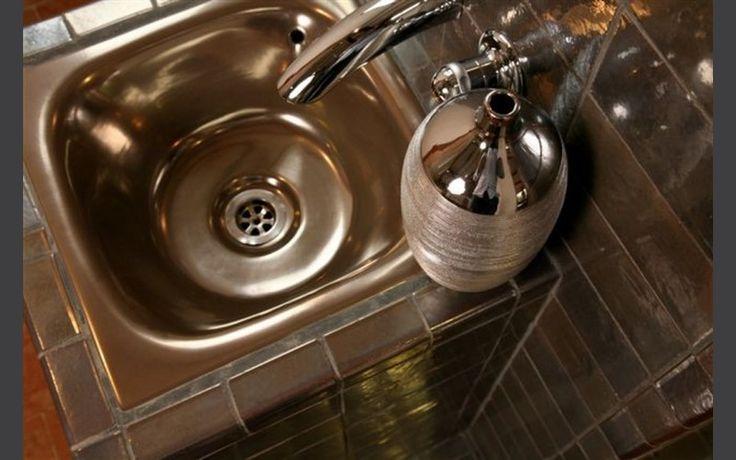 Vasque à encastrer Tian métallisé bronze 45 x 45 x h 20 cm