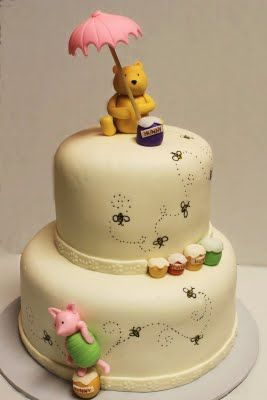 What an adorable Winnie the Pooh cake! Simple yet so cute!: Cakes Ideas, Baby Shower Cakes, Pooh Bears, First Birthday, Winnie The Pooh, Disney Cakes, Pooh Cakes, Birthday Cakes, Baby Shower