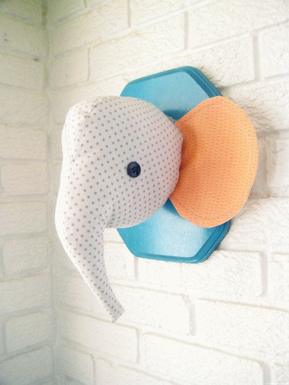 Elephant plush wall mount,  whimsical nursery decor, faux taxidermy... Absolutely adorable