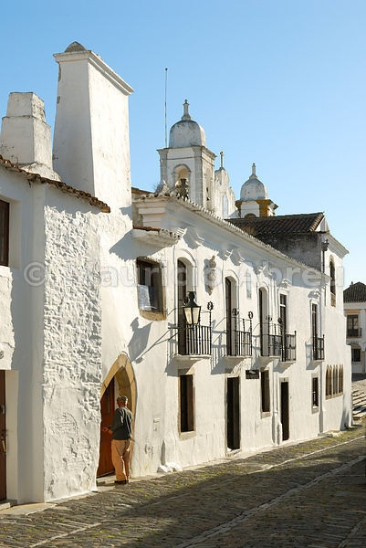 The traditional village of Monsaraz with white houses, Alentejo, Portugal