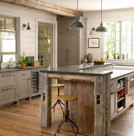 barnwood beam kitchen island from Country Living: