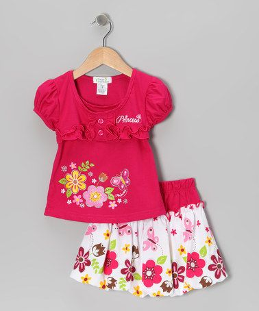 Take a look at this Fuchsia 'Princess' Top & Bubble Skirt - Toddler & Girls by Littoe Potatoes on #zulily today!