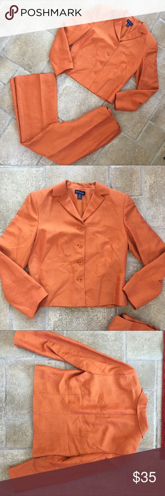 Ann Taylor Orange Suit 2-Piece Ann Taylor orange two piece suit  both size 10 Worn twice still in perfect condition  Make an offer! Ann Taylor Jackets & Coats Blazers