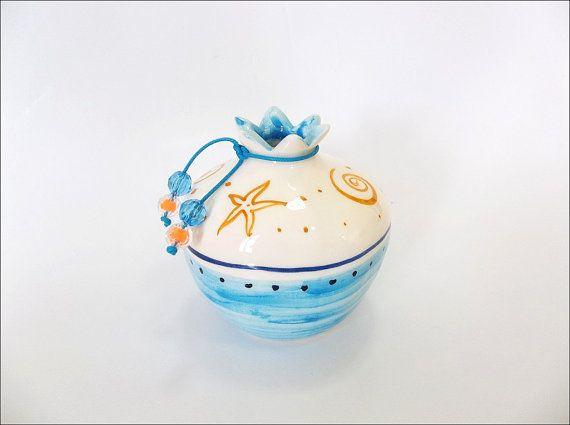 Blue Aegean ceramic pomegranate by IoannasVeryCHic on Etsy, $18.00