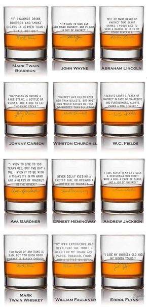 Whiskey Lovers Engraved Personalized Whiskey Glasses image When you purchase our Six Best Selling Famous Whiskey Quotes , you receive six (6) glasses, but only pay for 5 as we throw in one free. Our Six Best selling famous whiskey quote glasses are: John Wayne, Mark Twain, Abraham Lincoln, Winston Churchill, W.C. Fields, and Johnny Carson.