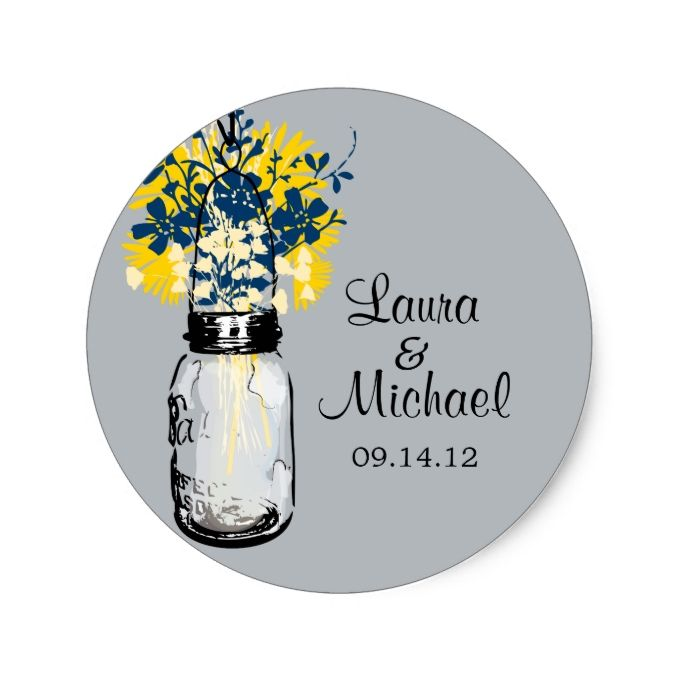 Rustic Mason Jar and Wildflowers Classic Round Sticker