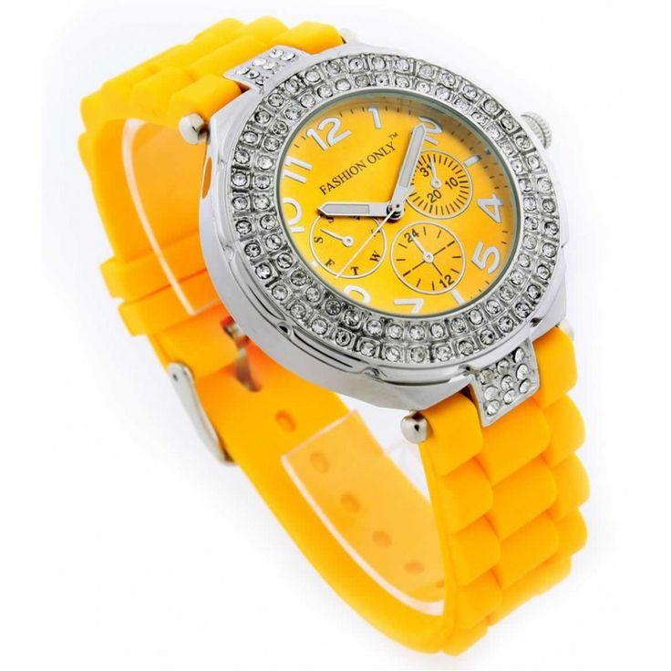 Žluté dámské hodinky s plastovým řemínkem. Průměr: 4 cm, hodinový strojek: Quartz. Střední velikost.
